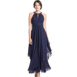 Eliza J Navy Blue Beaded Embellished Chiffon Gown